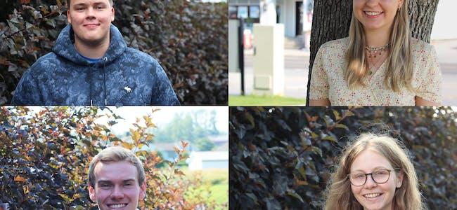 UNGE VELJARAR: Bjørnar Stærk (oppe t.v.), Helene Boland (oppe t.h.), Andreas Vreim (nede t.v.) og Ingrid Mikalsen (nede t.h.) har fleire tema dei er opptatte av i forkant av stortingsvalet.