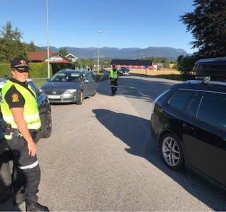 KONTROLL: UP hadde onsdag fartskontroll i Strannavegen på Gvarv. Her frå ein tidlegare kontroll.