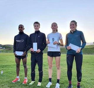 VINNARAR: Vinnarane i ulike klasser: F.v. Matias Sunde, Sondre Harstad Rinde, Ingvild Horgen og Marthe Beate Nilsen.